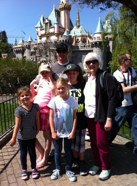 Spring break at Disneyland with our grandkids (the tall ones) and their cousins (the short ones).